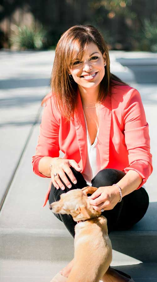 Adrianne with dog